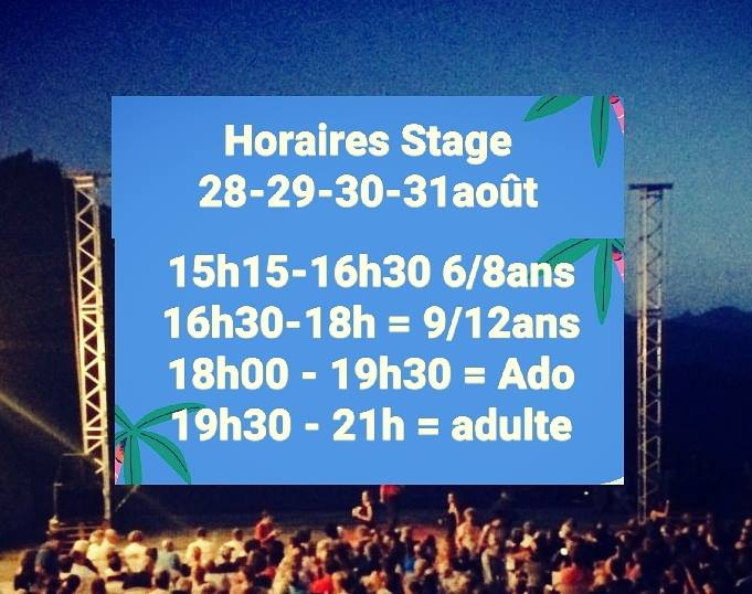 Horaires Stage Modern Jazz août 2017