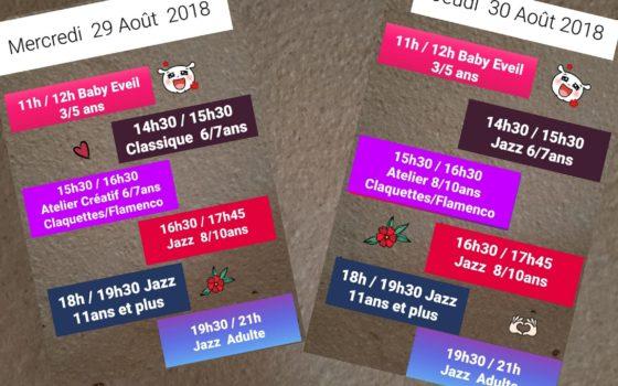 Horaires du Stage de Danse pour les 29 et 30 août 2018